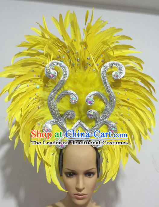 Top Grade Professional Stage Show Halloween Halloween Hair Accessories Decorations, Brazilian Rio Carnival Parade Samba Dance Modern Fancywork Yellow Feather Headpiece for Women