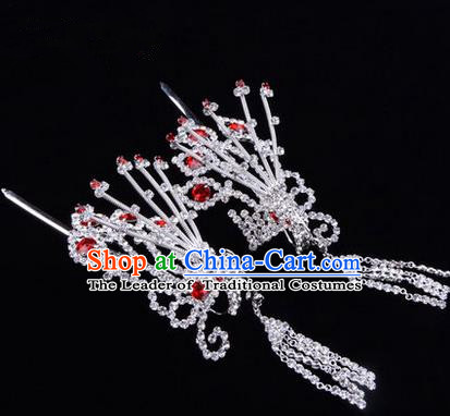 Chinese Ancient Peking Opera Hair Accessories Young Lady Diva Red Phoenix Headwear, Traditional Chinese Beijing Opera Head Ornaments Hua Tan Crystal Hairpins