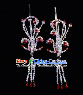 Chinese Ancient Peking Opera Hair Accessories Young Lady Diva Red Phoenix Headwear, Traditional Chinese Beijing Opera Head Ornaments Hua Tan Colorful Crystal Hairpins