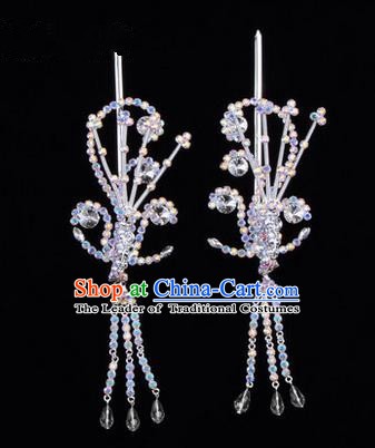 Chinese Ancient Peking Opera Hair Accessories Young Lady Diva White Phoenix Headwear, Traditional Chinese Beijing Opera Head Ornaments Hua Tan Colorful Crystal Hairpins