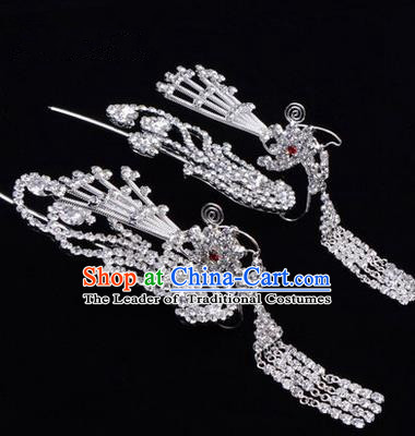 Chinese Ancient Peking Opera Hair Accessories Young Lady Diva Tassel Phoenix Headwear, Traditional Chinese Beijing Opera Head Ornaments Hua Tan White Crystal Hairpins