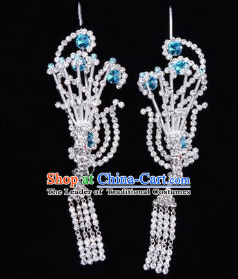 Chinese Ancient Peking Opera Hair Accessories Young Lady Diva Tassel Phoenix Headwear, Traditional Chinese Beijing Opera Head Ornaments Hua Tan Blue Crystal Hairpins