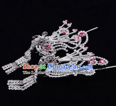 Chinese Ancient Peking Opera Hair Accessories Young Lady Diva Tassel Phoenix Headwear, Traditional Chinese Beijing Opera Head Ornaments Hua Tan Pink Crystal Hairpins
