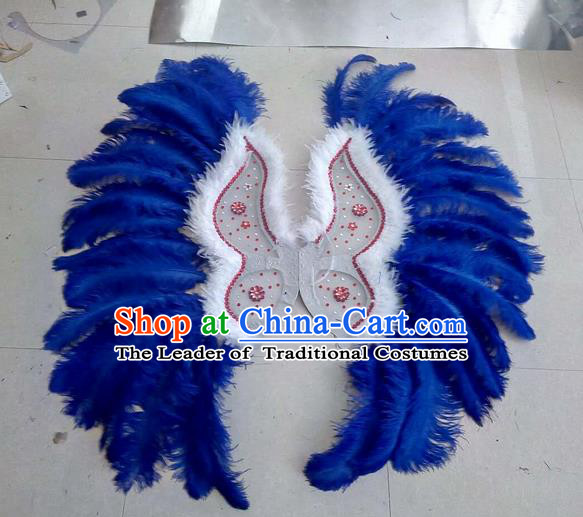 Top Grade Professional Stage Show Halloween Props Decorations Wings, Brazilian Rio Carnival Parade Samba Dance Blue Feather Catwalks Backplane for Women