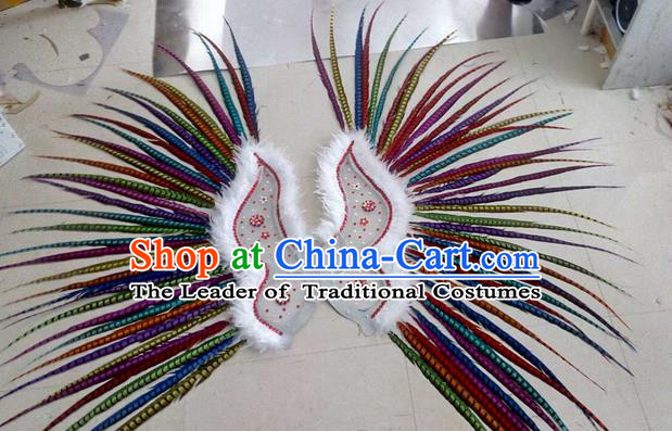 Top Grade Professional Stage Show Halloween Props Decorations Wings, Brazilian Rio Carnival Parade Samba Dance Colorful Long Feather Catwalks Backplane for Women