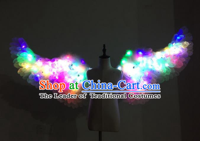 Top Grade Professional Stage Show Halloween Parade Props Decorations Led Light Wings, Brazilian Rio Carnival Parade Samba Dance White Feather Backplane for Kids