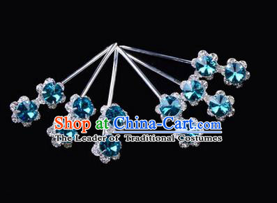 Chinese Ancient Peking Opera Hair Accessories Young Lady Diva Head Ornaments, Traditional Chinese Beijing Opera Hua Tan Blue Crystal Double Beads Hairpins