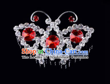 Chinese Ancient Peking Opera Jewelry Accessories Young Lady Diva Butterfly Brooch, Traditional Chinese Beijing Opera Hua Tan Red Crystal Breastpin