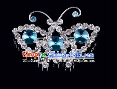 Chinese Ancient Peking Opera Jewelry Accessories Young Lady Diva Butterfly Brooch, Traditional Chinese Beijing Opera Hua Tan Blue Crystal Breastpin