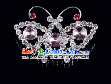 Chinese Ancient Peking Opera Jewelry Accessories Young Lady Diva Butterfly Brooch, Traditional Chinese Beijing Opera Hua Tan Pink Crystal Breastpin