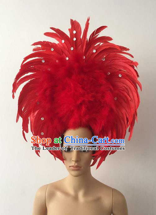 Top Grade Professional Stage Show Halloween Parade Red Feather Deluxe Hair Accessories, Brazilian Rio Carnival Parade Samba Dance Catwalks Headwear for Women