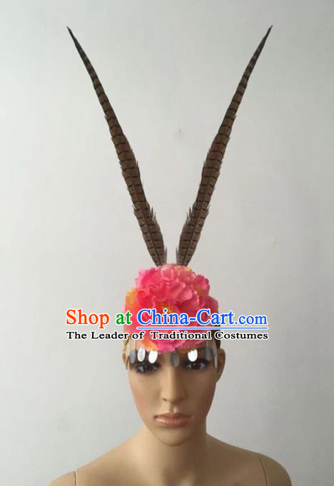 Top Grade Professional Stage Show Peking Opera Feather Hair Accessories Headwear for Women