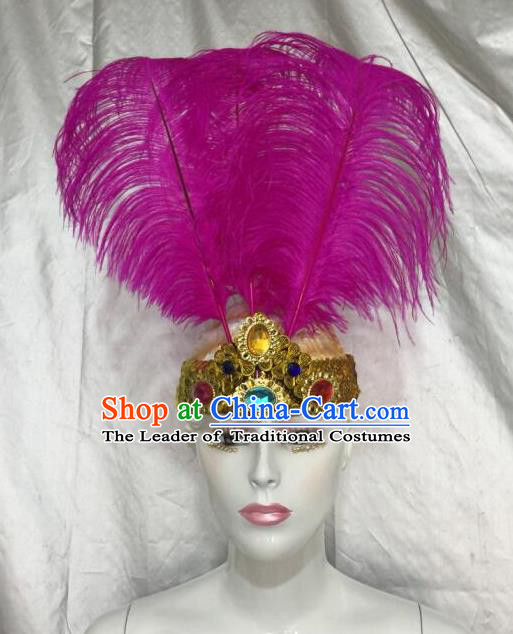 Top Grade Professional Stage Show Halloween Parade Rosy Feather Extravagant Brazilian Rio Carnival Parade Samba Dance Headwear for Women