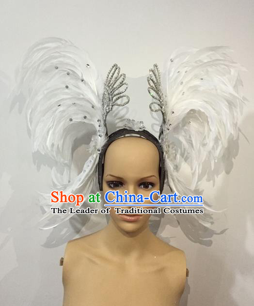 Top Grade Professional Stage Show Halloween Parade White Feather Brazilian Rio Carnival Parade Samba Dance Exaggerated Hair Accessories Headpiece for Women