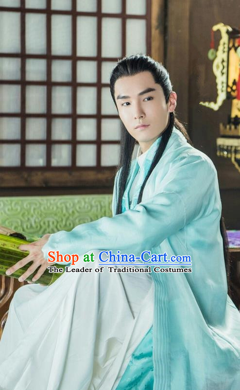 Traditional Ancient Chinese Dandies Costume, A Life Time Love Chinese Nobility Childe Clothing and Handmade Headpiece Complete Set for Men