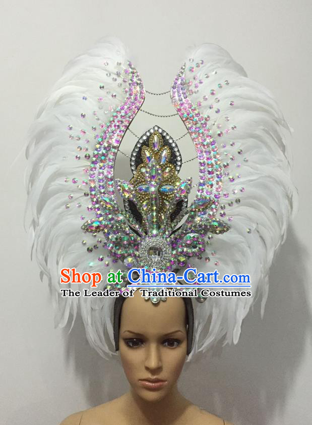 Top Grade Professional Stage Show Halloween Parade Exaggerated White Feather Hair Accessories, Brazilian Rio Carnival Samba Dance Headwear for Women