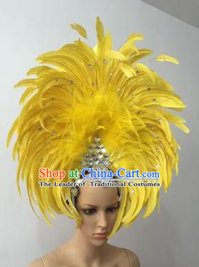 Top Grade Professional Stage Show Halloween Parade Yellow Feather Deluxe Hair Accessories, Brazilian Rio Carnival Samba Dance Modern Fancywork Headwear for Women