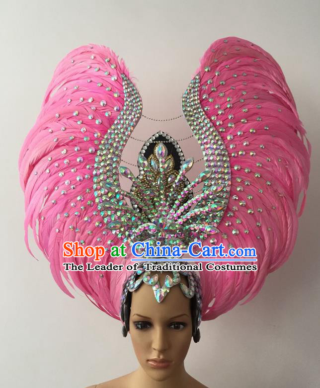 Top Grade Professional Stage Show Halloween Parade Pink Feather Deluxe Hair Accessories, Brazilian Rio Carnival Samba Dance Modern Fancywork Headwear for Women