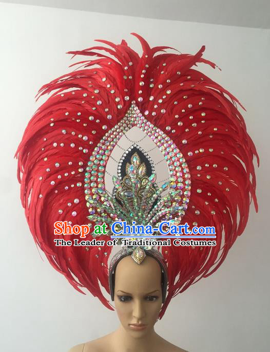 Top Grade Professional Stage Show Halloween Parade Red Feather Deluxe Hair Accessories, Brazilian Rio Carnival Samba Dance Modern Fancywork Crystal Headwear for Women
