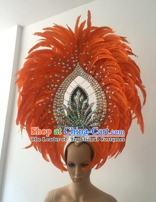 Top Grade Professional Stage Show Halloween Parade Orange Feather Deluxe Hair Accessories, Brazilian Rio Carnival Samba Dance Modern Fancywork Crystal Headwear for Women