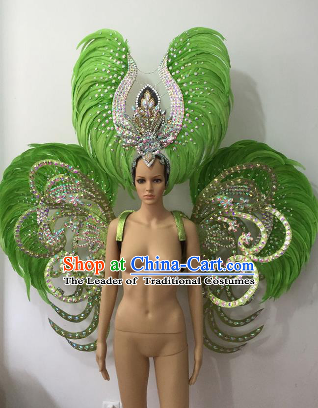 Top Grade Professional Stage Show Halloween Parade Green Feather Deluxe Butterfly Wings and Hair Accessories, Brazilian Rio Carnival Samba Dance Modern Fancywork Backplane for Women