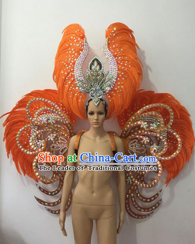Top Grade Professional Stage Show Halloween Parade Orange Feather Deluxe Butterfly Wings and Hair Accessories, Brazilian Rio Carnival Samba Dance Modern Fancywork Backplane for Women