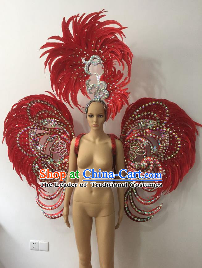 Top Grade Professional Stage Show Halloween Parade Red Feather Deluxe Butterfly Wings and Hair Accessories, Brazilian Rio Carnival Samba Dance Modern Fancywork Backplane for Women
