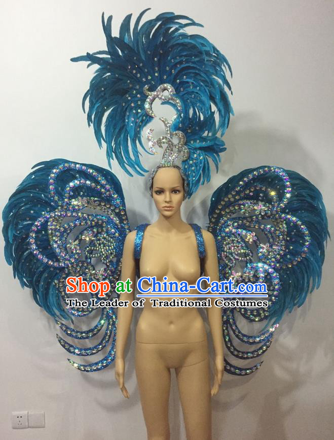 Top Grade Professional Stage Show Halloween Parade Blue Feather Deluxe Butterfly Wings and Hair Accessories, Brazilian Rio Carnival Samba Dance Modern Fancywork Backplane for Women