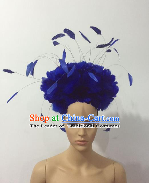 Top Grade Professional Stage Show Halloween Parade Blue Feather Deluxe Hair Accessories, Brazilian Rio Carnival Samba Dance Modern Fancywork Headpiece for Women