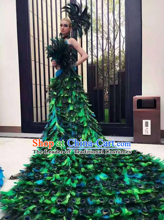 Top Grade Professional Performance Catwalks Bikini Costume and Headpiece, Traditional Brazilian Rio Carnival Samba Modern Fancywork Peacock Feather Trailing Swimsuit for Women