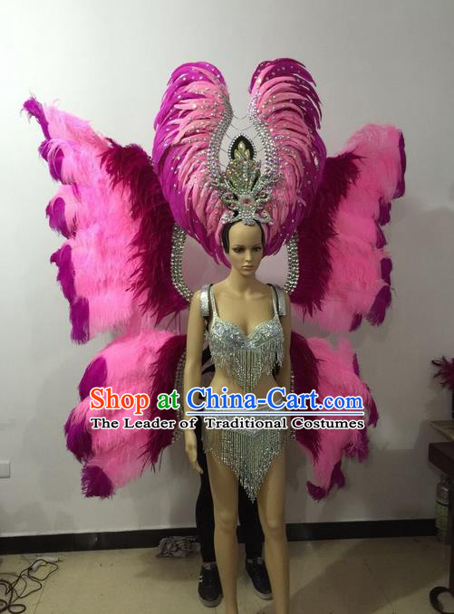 Top Grade Professional Performance Catwalks Bikini Butterfly Wings Costume and Headpiece, Traditional Brazilian Rio Carnival Samba Modern Fancywork Pink Feather Swimsuit for Women