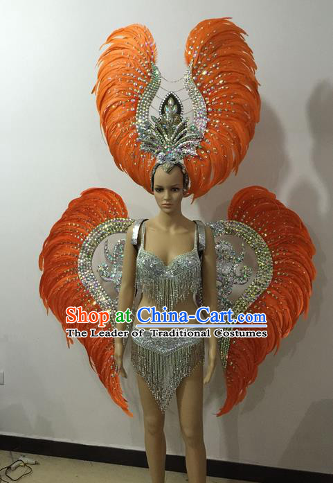 Top Grade Professional Performance Catwalks Orange Feather Bikini and Deluxe Wings Headpiece, Traditional Brazilian Rio Carnival Samba Modern Fancywork Swimsuit Costume for Women