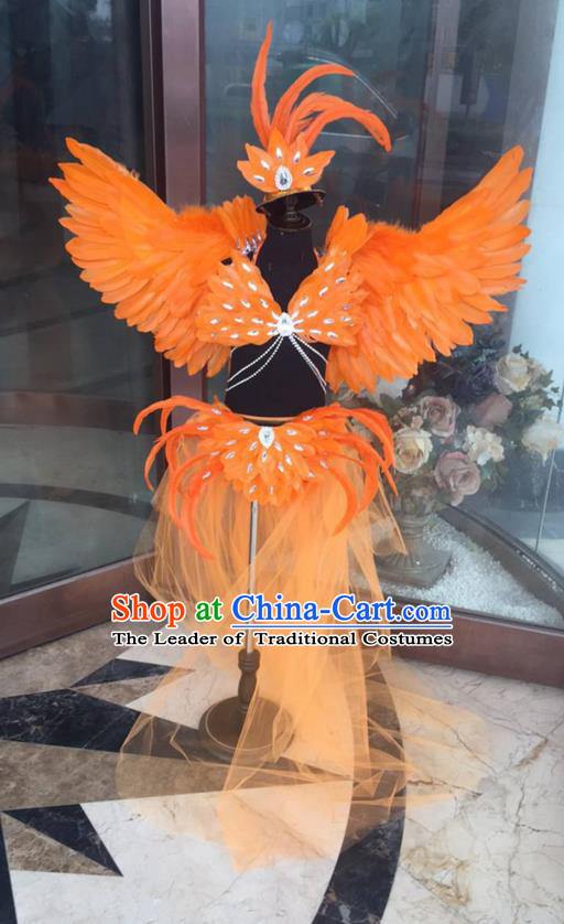 Top Grade Professional Performance Catwalks Costume Orange Feather Bikini with Wings, Traditional Brazilian Rio Carnival Samba Dance Modern Fancywork Swimsuit Clothing for Kids