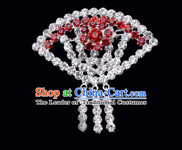 Chinese Ancient Peking Opera Jewelry Accessories Young Lady Diva Sector Brooch, Traditional Chinese Beijing Opera Hua Tan Red Crystal Breastpin