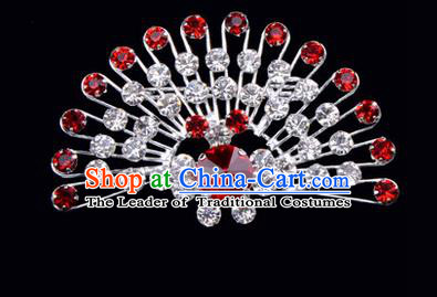 Chinese Ancient Peking Opera Jewelry Accessories Young Lady Diva Peacock Brooch Collar Button, Traditional Chinese Beijing Opera Hua Tan Red Crystal Breastpin