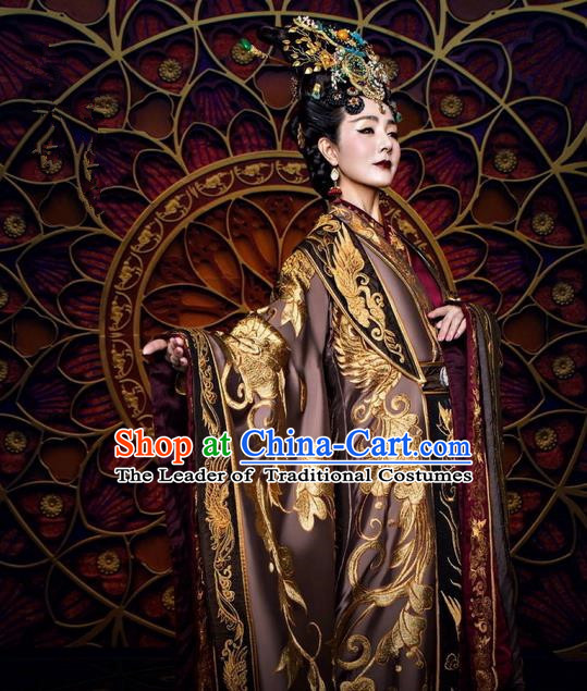 Traditional Ancient Chinese Queen Mother Costume and Handmade Headpiece Complete Set, Elegant Hanfu Clothing Chinese Southern and Northern Dynasty Imperial Empress Dowager Tailing Embroidered Clothing