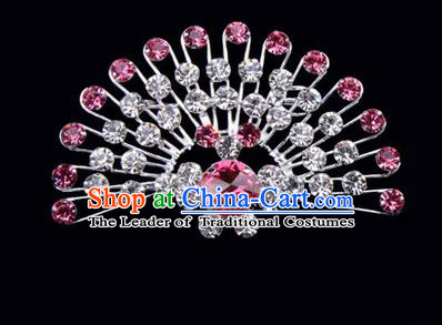 Chinese Ancient Peking Opera Jewelry Accessories Young Lady Diva Peacock Brooch Collar Button, Traditional Chinese Beijing Opera Hua Tan Pink Crystal Breastpin