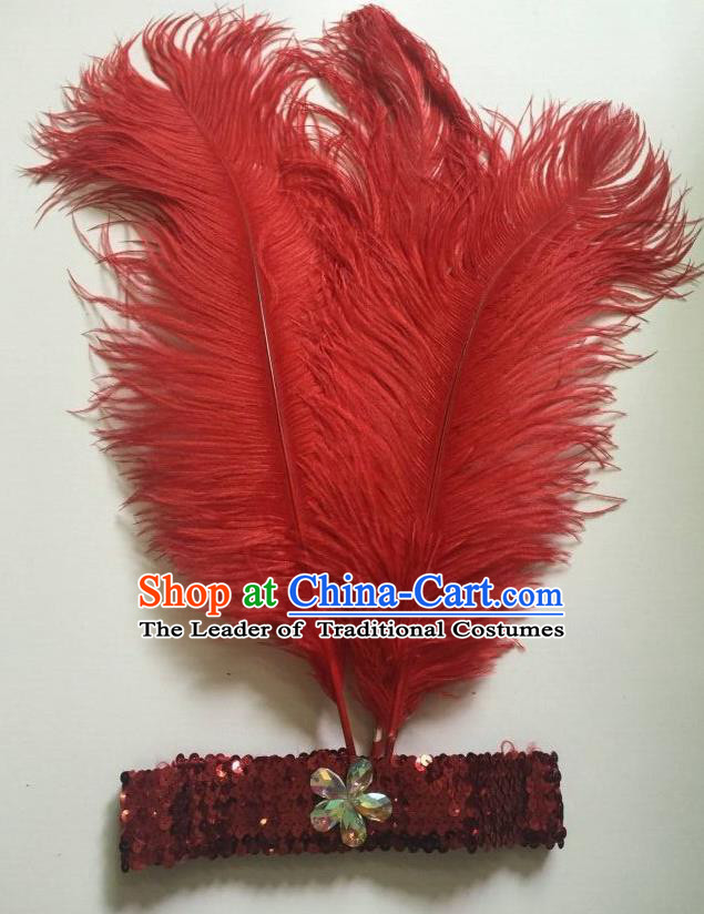 Top Grade Professional Stage Show Halloween Parade Red Ostrich Feather Hair Accessories, Brazilian Rio Carnival Samba Dance Modern Fancywork Headwear for Women