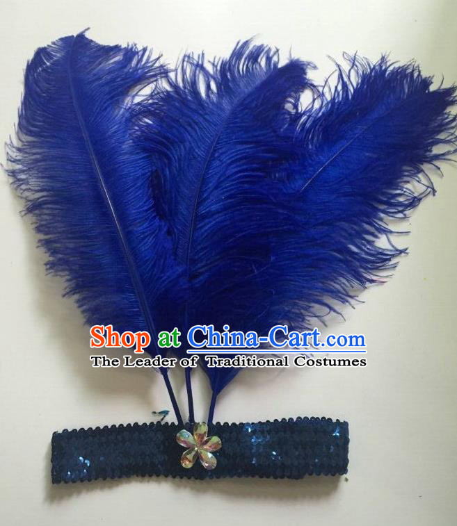 Top Grade Professional Stage Show Halloween Parade Royalblue Ostrich Feather Hair Accessories, Brazilian Rio Carnival Samba Dance Modern Fancywork Headwear for Women