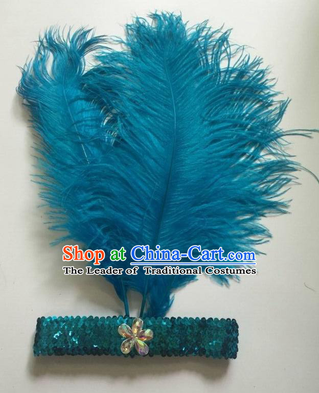 Top Grade Professional Stage Show Halloween Parade Blue Ostrich Feather Hair Accessories, Brazilian Rio Carnival Samba Dance Modern Fancywork Headwear for Women
