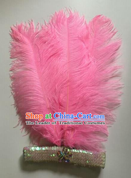 Top Grade Professional Stage Show Halloween Parade Pink Ostrich Feather Hair Accessories, Brazilian Rio Carnival Samba Dance Modern Fancywork Headwear for Women