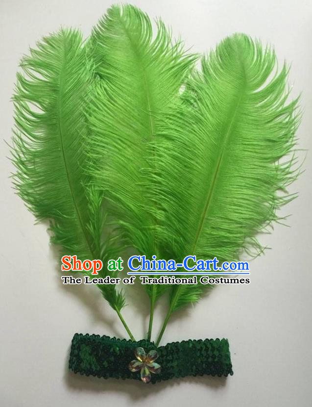Top Grade Professional Stage Show Halloween Parade Green Ostrich Feather Hair Accessories, Brazilian Rio Carnival Samba Dance Modern Fancywork Headwear for Women
