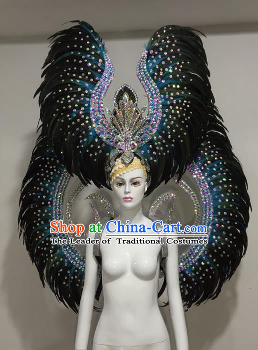 Top Grade Professional Stage Show Halloween Parade Blue Feather Wings and Hair Accessories, Brazilian Rio Carnival Samba Dance Modern Fancywork Decorations Props for Women