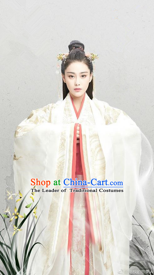 Traditional Chinese Ancient Warring States Time Imperial Consort Costumes, Song of Phoenix Chu State Princess Hanfu Clothing and Handmade Headpiece Complete Set for Women