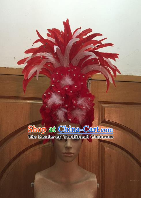 Top Grade Professional Stage Show Halloween Parade Red Ostrich Feather Big Hair Accessories, Brazilian Rio Carnival Samba Dance Modern Fancywork Hat Headwear for Women