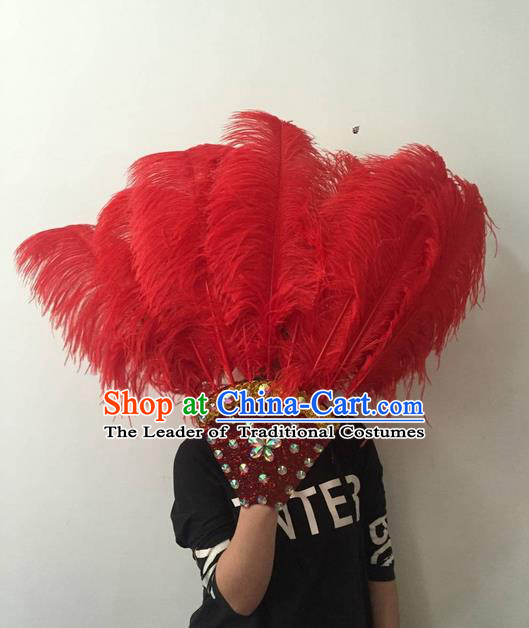Top Grade Professional Stage Show Halloween Parade Red Feather Big Hair Accessories, Brazilian Rio Carnival Samba Dance Modern Fancywork Headdress for Women