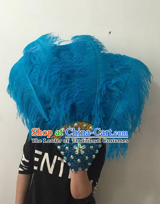 Top Grade Professional Stage Show Halloween Parade Blue Feather Big Hair Accessories, Brazilian Rio Carnival Samba Dance Modern Fancywork Headdress for Women