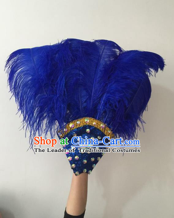 Top Grade Professional Stage Show Halloween Parade Royalblue Feather Big Hair Accessories, Brazilian Rio Carnival Samba Dance Modern Fancywork Headdress for Women