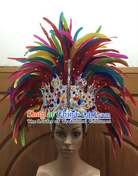 Top Grade Professional Stage Show Halloween Parade Colorful Feather Big Hair Accessories, Brazilian Rio Carnival Samba Dance Modern Fancywork Crystal Headdress for Women