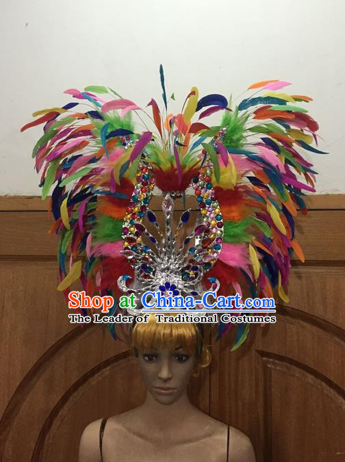 Top Grade Professional Stage Show Halloween Parade Colorful Feather Big Hair Accessories, Brazilian Rio Carnival Samba Dance Modern Fancywork Crystal Giant Headdress for Women
